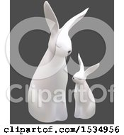 Clipart Of A 3d White Bunny Rabbit And Baby On A Gray Background Royalty Free Vector Illustration