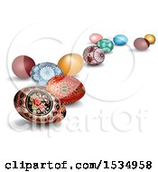Clipart Of 3d Easter Eggs With Shadows On A White Background Royalty Free Vector Illustration