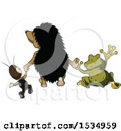 Clipart Of A Rear View Of A Cricket Hedgehog And Frog Holding Hands Royalty Free Vector Illustration by dero