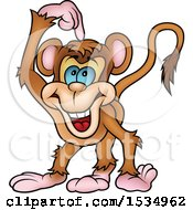 Clipart Of A Monkey Scratching His Head Royalty Free Vector Illustration