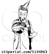 Clipart Of A Black And White Clown Holding Out An Invitation Royalty Free Vector Illustration