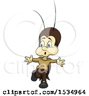 Clipart Of A Surprised Cricket Royalty Free Vector Illustration