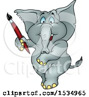 Clipart Of A Blue Eyed Elephant Holding A Paintbrush Royalty Free Vector Illustration
