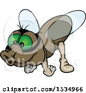 Clipart Of A Green Eyed Fly Royalty Free Vector Illustration