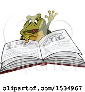 Clipart Of A Female Frog Reading A Spell Book Royalty Free Vector Illustration by dero