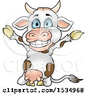 Clipart Of A Happy Cow Kneeling And Cheering Royalty Free Vector Illustration