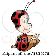 Clipart Of A Rear View Of A Sitting Ladybug Royalty Free Vector Illustration