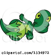 Clipart Of A Happy Dinosaur Laying On His Back Royalty Free Vector Illustration