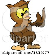 Clipart Of A Brown Owl Talking And Presenting Royalty Free Vector Illustration