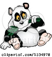 Clipart Of A Happy Panda Eating Leaves Royalty Free Vector Illustration