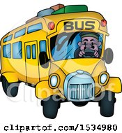 Clipart Of A Driver In A School Bus Royalty Free Vector Illustration