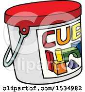 Clipart Of A Tub Of Toy Blocks Royalty Free Vector Illustration