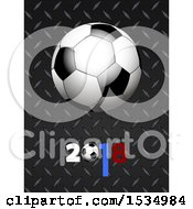 Clipart Of A 3d Soccer Ball On Diamond Plate Metal With 2018 Royalty Free Vector Illustration
