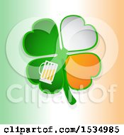 Clipart Of A St Patricks Day Four Leaf Shamrock Clover With Irish Flag Themed Petals And Beer Over Gradient Royalty Free Vector Illustration by elaineitalia