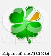 Clipart Of A St Patricks Day Four Leaf Shamrock Clover With An Irish Flag Themed Petal Over A Shaded Background Royalty Free Vector Illustration