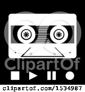 Clipart Of A Cassette Tape With Stop Play Pause And Record Buttons In Black And White Royalty Free Vector Illustration