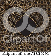 Poster, Art Print Of Blank Frame Over A Background Of Gold Pattern On Black
