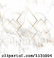 Background Of Golden Diamonds Over Marble
