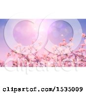 Clipart Of A Background Of 3d Cherry Blossoms Royalty Free Illustration