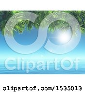 Clipart Of A 3d Ocean Landscape With Palm Branches Royalty Free Illustration