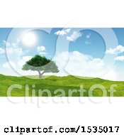 3d Tree In A Sunny Landscape