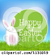 Clipart Of A Happy Easter Greeting With A Bunny Rabbit Egg Royalty Free Vector Illustration