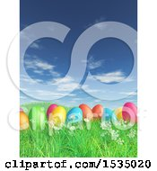 Clipart Of 3d Colorful Easter Eggs In Grass Royalty Free Illustration