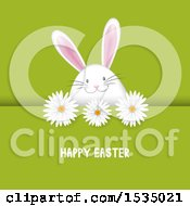 Clipart Of A Happy Easter Greeting With A Bunny Rabbit Egg And Flowers On Green Royalty Free Vector Illustration