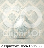 Clipart Of A 3d Easter Egg Over A Matching Vintage Pattern Royalty Free Vector Illustration