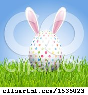 Clipart Of A 3d Easter Egg With Bunny Ears In Grass Royalty Free Vector Illustration
