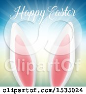 Clipart Of Bunny Ears And A Happy Easter Greeting Royalty Free Vector Illustration