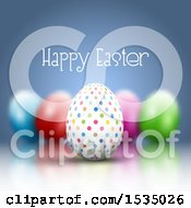 Poster, Art Print Of Happy Easter Greeting Over 3d Easter Eggs