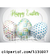 Happy Easter Greeting Over 3d Easter Eggs