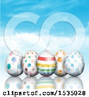 Clipart Of 3d Easter Eggs Over Sky Royalty Free Vector Illustration