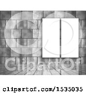 Clipart Of A 3d Brick Wall With Canvases Royalty Free Illustration