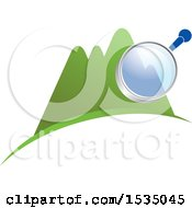Clipart Of A Magnifying Glass Over Mountains Royalty Free Vector Illustration