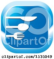 Clipart Of A Blue Icon With A Spoon And Fork Royalty Free Vector Illustration