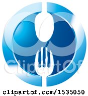 Clipart Of A Round Blue Icon With A Spoon And Fork Royalty Free Vector Illustration