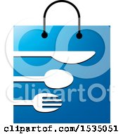 Clipart Of A Blue Shopping Bag With Silverware Royalty Free Vector Illustration