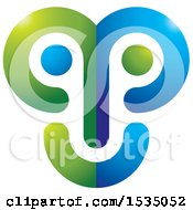 Clipart Of A Green And Blue Abstract Face Royalty Free Vector Illustration