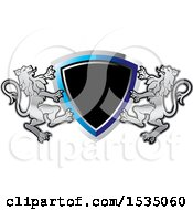 Clipart Of A Lion Crest And Shield Royalty Free Vector Illustration