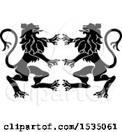 Clipart Of Black And White Rampant Lions Royalty Free Vector Illustration