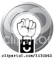 Clipart Of A Fisted Hand In A Wheel Royalty Free Vector Illustration