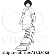 Clipart Of A Black And White Housekeeper Using A Vacuum Or Floor Polisher Royalty Free Vector Illustration