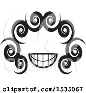 Clipart Of A Black And White Face With Spirals Royalty Free Vector Illustration