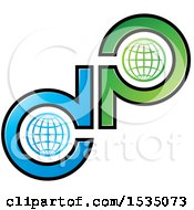 Clipart Of A Letter D And P Globe Design Royalty Free Vector Illustration