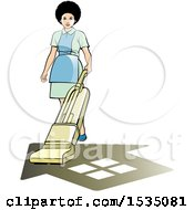 Poster, Art Print Of Housekeeper Using A Vacuum Or Floor Polisher Over A Home Shadow
