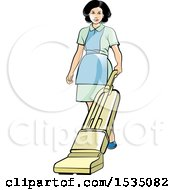 Housekeeper Using A Vacuum Or Floor Polisher