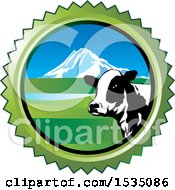 Dairy Cow And Mountain In A Round Frame