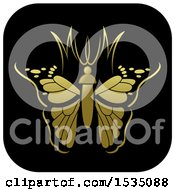 Clipart Of A Golden Butterfly And Black Icon Royalty Free Vector Illustration